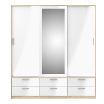 Line Wardrobe - 3 Doors 6 Drawers in Oak with White High Gloss alidasa.myshopify.com