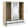 Line Wardrobe - 3 Doors 6 Drawers in Oak with White High Gloss - Alidasa