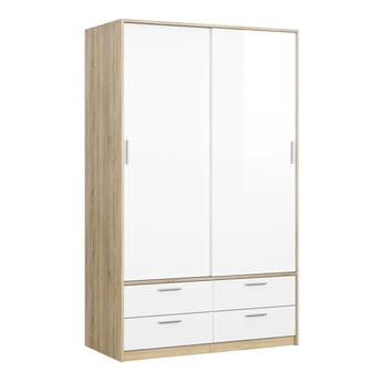Line Wardrobe - 2 Doors 4 Drawers in Oak with White High Gloss alidasa.myshopify.com