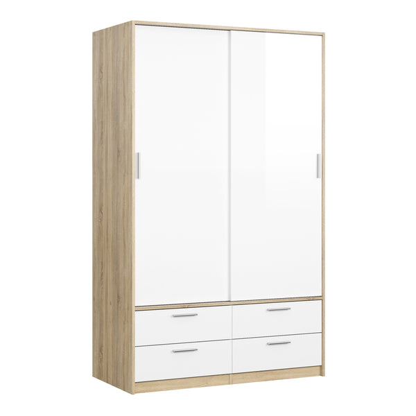 Line Wardrobe - 2 Doors 4 Drawers in Oak with White High Gloss - Alidasa