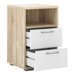 Homeline Bedside 2 Drawers in Oak with White High Gloss - Alidasa