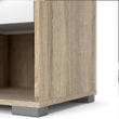 Homeline Bedside 1 Drawer in Oak with White High Gloss - Alidasa