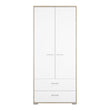 Homeline Wardrobe - 2 Doors 2 Drawers in Oak with White High Gloss - Alidasa