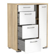 Homeline Sideboard - 4 Drawers 1 Door in Oak with White High Gloss - Alidasa