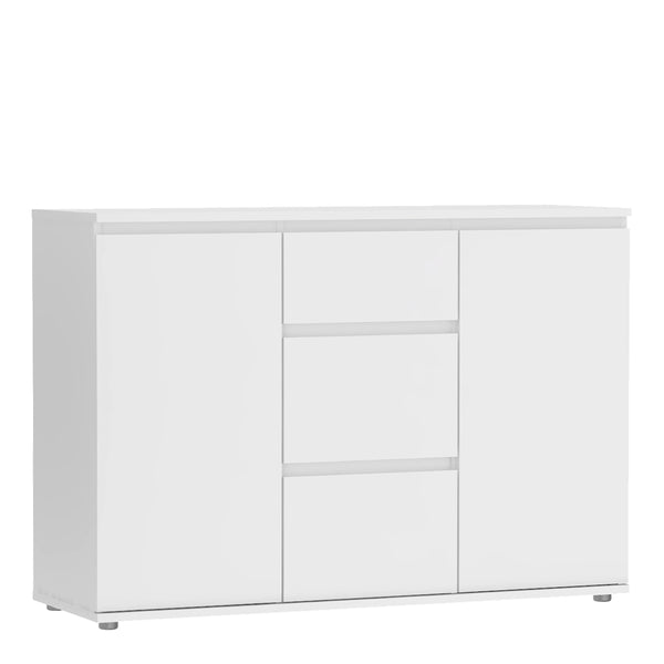 Nova Sideboard - 3 Drawers 2 Doors in White - Alidasa