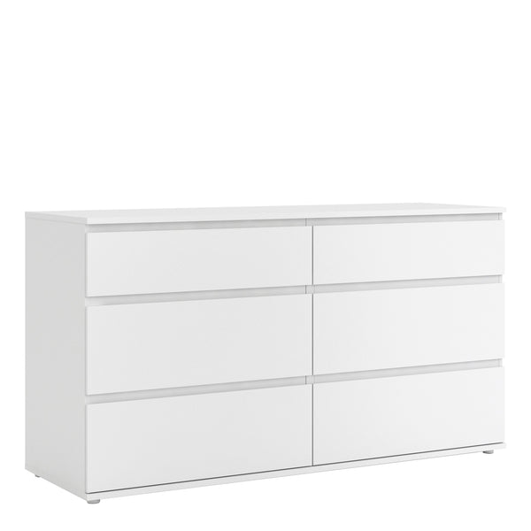 Nova Wide Chest of 6 Drawers (3+3) in White - Alidasa