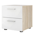 Pepe Bedside 2 Drawers in Oak with White High Gloss alidasa.myshopify.com