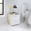 Pepe Bedside 2 Drawers in Oak with White High Gloss - Alidasa