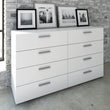Pepe Wide Chest of 8 Drawers (4+4) in White - Alidasa