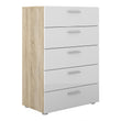 Pepe Chest of 5 Drawers in Oak with White High Gloss - Alidasa