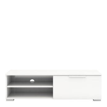Match TV Unit 1 Drawers 2 Shelf in White High Gloss - Alidasa