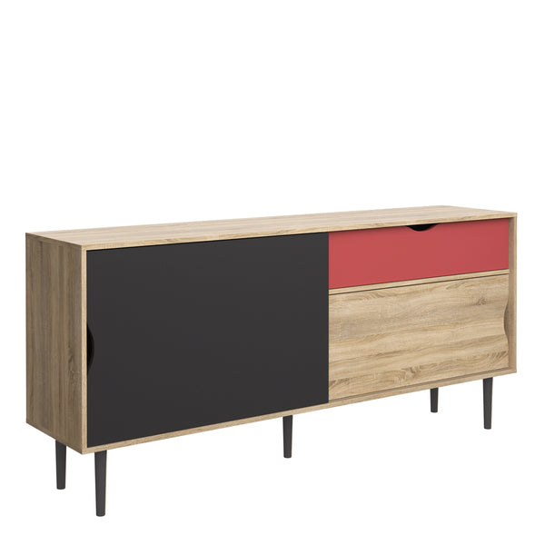 Unit Sideboard 1 Drawer w/ Sliding Doors in Oak with Dark Grey and Teracotta - Alidasa