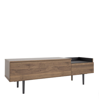 Unit Sideboard 2 Drawers in Walnut and Black - Alidasa
