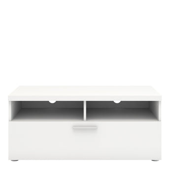 Napoli TV Unit 1 Drawer 2 Shelves in White - Alidasa