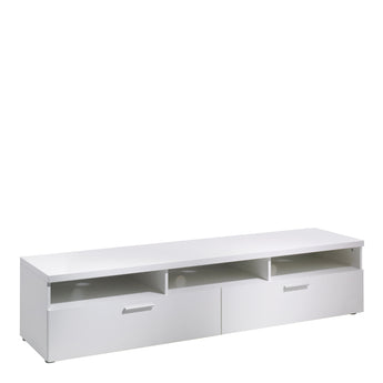 Napoli TV Unit 2 Drawers 3 Shelves in White - Alidasa
