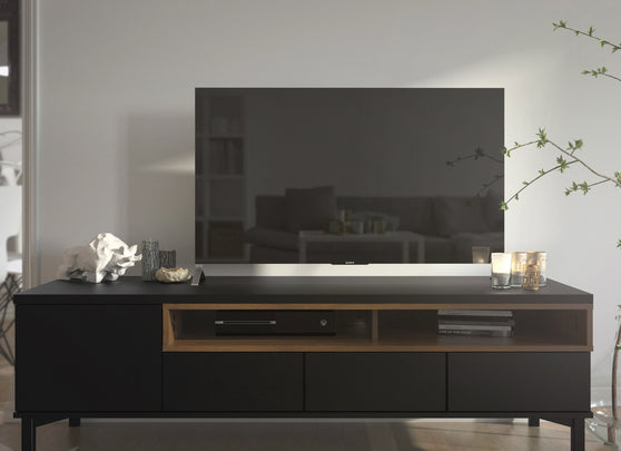 Roomers TV Unit 3 Drawers 1 Door in Black and Walnut - Alidasa