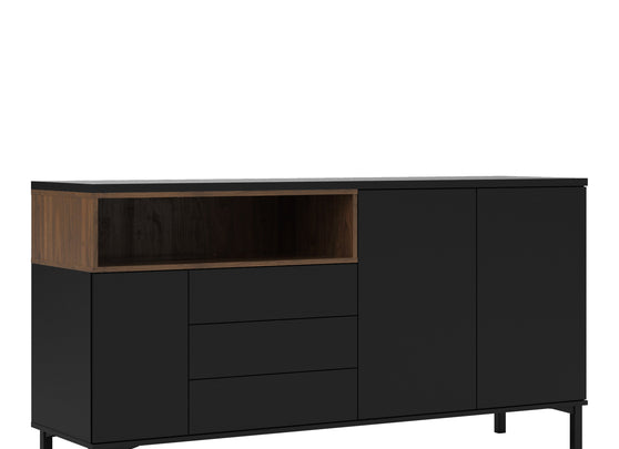 Roomers Sideboard 3 Drawers 3 Doors in Black and Walnut - Alidasa