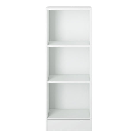 Basic Low Narrow Bookcase (2 Shelves) in White - Alidasa