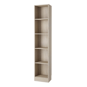 Basic Tall Narrow Bookcase (4 Shelves) in Oak - Alidasa