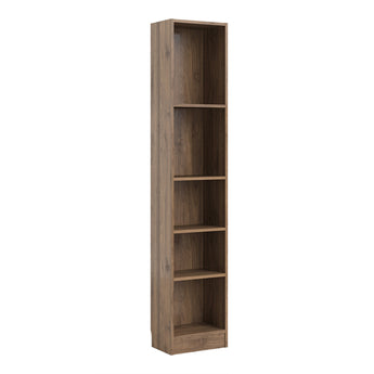 Basic Tall Narrow Bookcase (4 Shelves) in Walnut - Alidasa