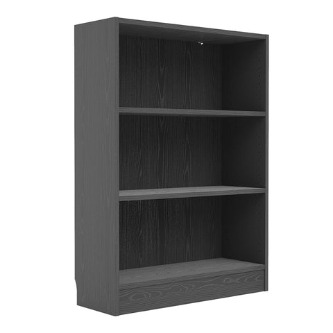 Basic Low Wide Bookcase (2 Shelves) in Black Woodgrain - Alidasa