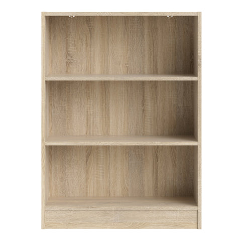Basic Low Wide Bookcase (2 Shelves) in Oak - Alidasa