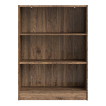 Basic Low Wide Bookcase (2 Shelves) in Walnut - Alidasa