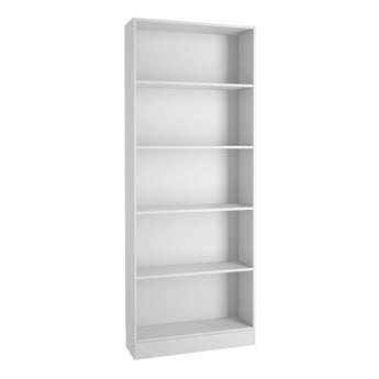 Basic Tall Wide Bookcase (4 Shelves) in White - Alidasa