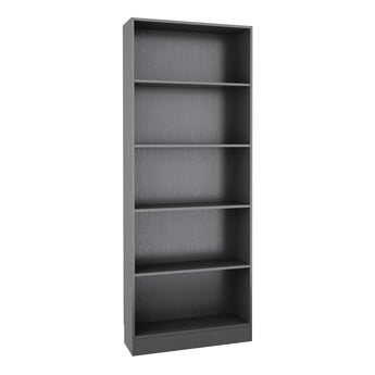 Basic Tall Wide Bookcase (4 Shelves) in Black Woodgrain alidasa.myshopify.com