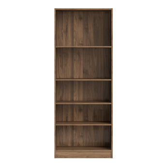 Basic Tall Wide Bookcase (4 Shelves) in Walnut - Alidasa