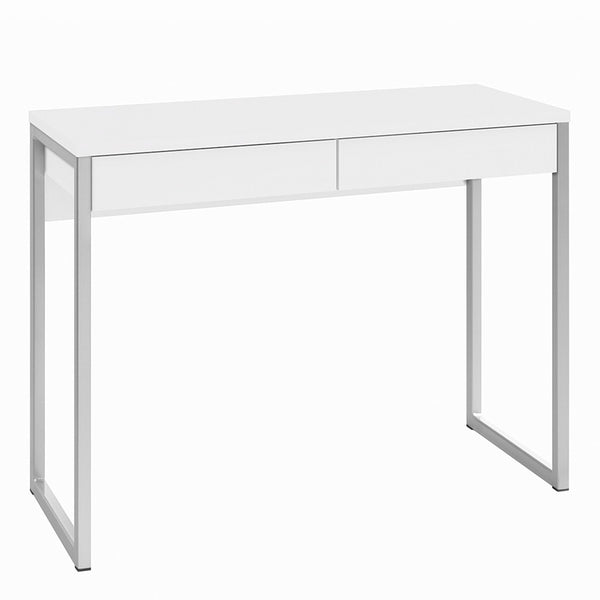 Function Plus Desk 2 Drawers in White High Gloss - Alidasa
