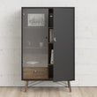 Ry  Cabinet 1 door + 1 Glass door + 1 drawer Matt Black Walnut - Alidasa