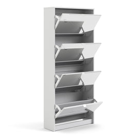 Shoes Shoe cabinet w. 4 mirror tilting doors and 2 layers - Alidasa