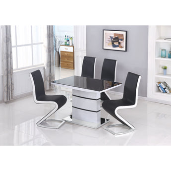Aldridge Dining Chair Black With White PU Sides , Sold in 2s - Alidasa