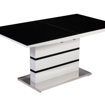 Aldridge Small High Gloss Dining Table White with Black Glass Top - Alidasa