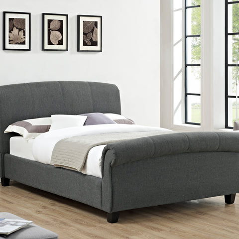 Arabella Linen Fabric Double Bed Grey - Alidasa