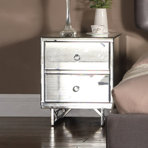 Ashbourne Bedside Mirrored 2 Drawer - Alidasa