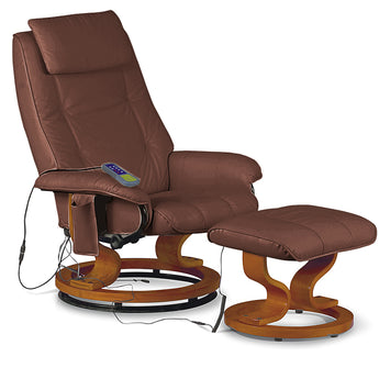 Aston Reclining Massager With Stool Black Brown Cream PU - Alidasa