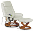 Aston Reclining Massager With Stool Black Brown Cream PU alidasa.myshopify.com
