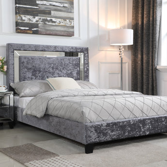 Augustina Silver with Mirror Crushed Velvet Bed - Double / King Size alidasa.myshopify.com