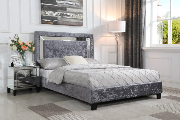 Augustina Silver with Mirror Crushed Velvet Bed - Double / King Size - Alidasa