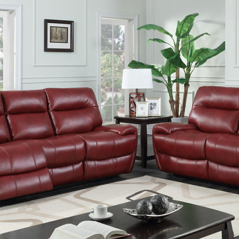 Bailey's Recliner Leather Gel & PU Red 2 Seater - Alidasa