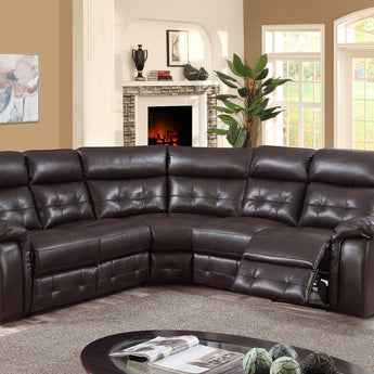 Cobalt Recliner LeatherLux & PU Corner Group Black & Brown - Alidasa