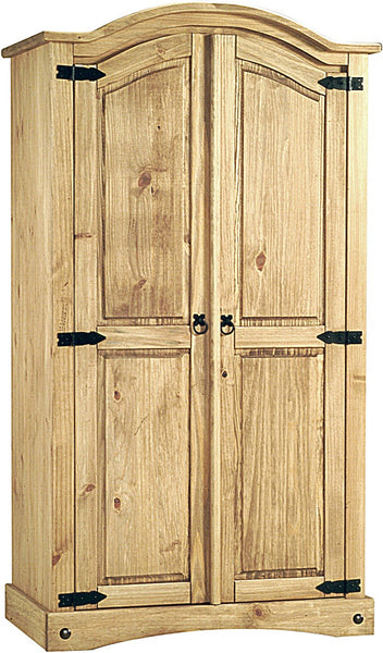 Corona Wardrobe 2 Doors Distressed Solid Waxed Light Pine - Alidasa