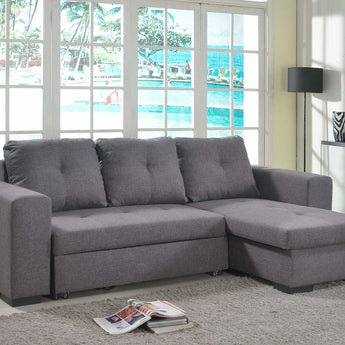 Gianni Chaise Sofa Bed with Storage Linen - Grey - Alidasa