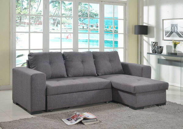 Gianni Chaise Sofa Bed with Storage Linen - Grey alidasa.myshopify.com