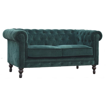 Flora Emerald Green Velvet 2 Seater Chesterfield Sofa - Alidasa
