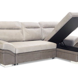 Jessica Linen Fabric 2 Seater Sofa Bed with Storage & Chaise - Grey alidasa.myshopify.com