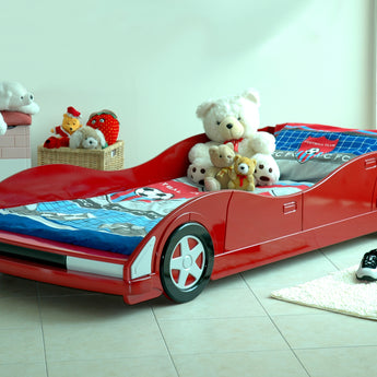 MOVI RED CHILDREN'S RACING CAR 3FT SINGLE BED - Alidasa
