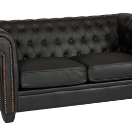 Winston 2 Seater Leather & PVC Chesterfield Sofas- Black-Brown-Dark Brown - Alidasa